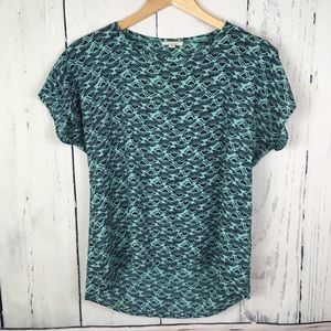 Pleione Short Sleeve Teal Patterned Blouse